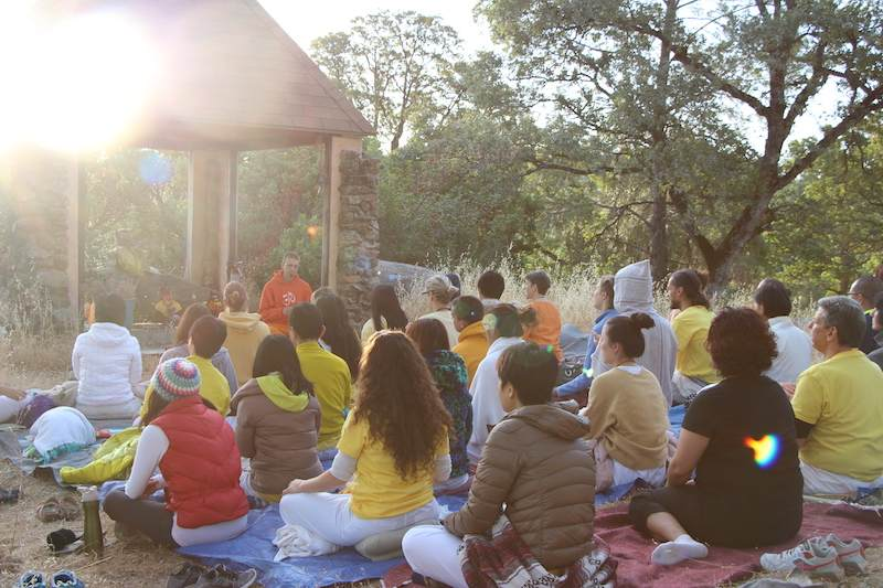 Satsang gathering at the Siva Hill temple on top of the Sivananda Yoga Farm.