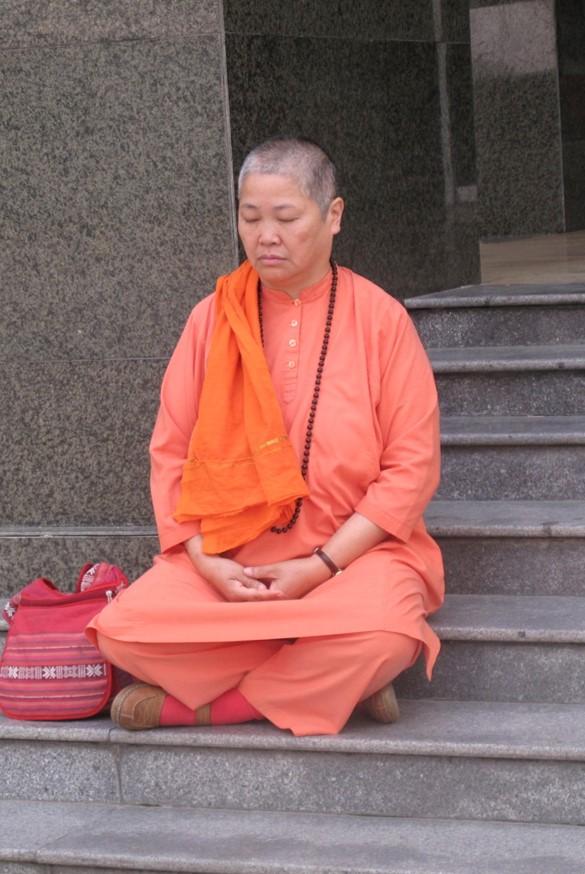 Swami Sita practicing yoga meditation
