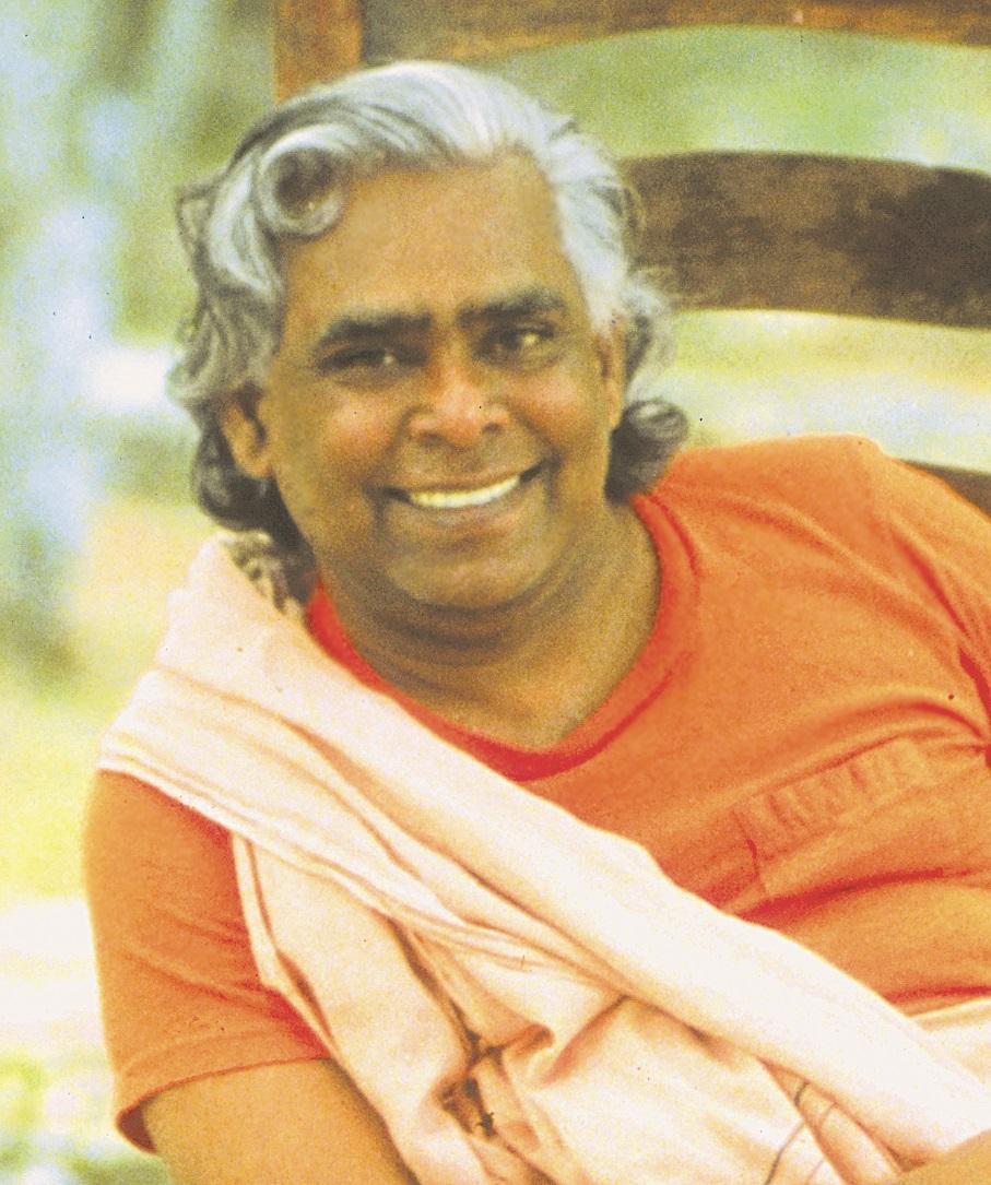 Swami vishnu beaming smile in orange